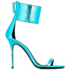 Giuseppe Zanotti Design 'Brittany' sandals ($1,065) ❤ liked on Polyvore featuring shoes, sandals, blue, open toe sandals, blue shoes, ankle wrap sandals, leather ankle strap sandals and stiletto shoes