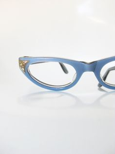 Vintage 1960s Blue Cat Eye Eyeglasses Glasses Pastel Rhinestone Pin Up Deadstock Swan Optical USA Robins Egg 60s Sixties Womens Ladies Shiny