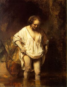 Rembrandt, Hendrickje Bathing in a River, 1654  A turning point.
