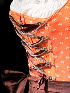 Dirndl Bodice - Love the combination of the ribbon and chains.