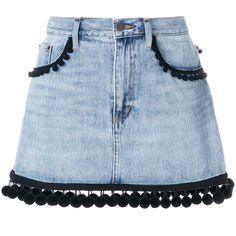 Marc Jacobs Denim Mini Skirt (338.700 CLP) ❤ liked on Polyvore featuring skirts, mini skirts, blue, light blue denim skirt, straight skirts, straight denim skirt and denim mini skirt