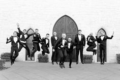Dallas wedding photographer, Mary Fields Photography, black and white outdoor wedding pictures, groom and groomsmen bridal party pictures