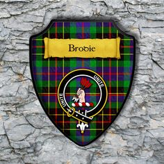 Brodie Plaque with Scottish Clan Badge on Clan Tartan Background by YourCustomStuff on Etsy https://www.etsy.com/listing/262770150/brodie-plaque-with-scottish-clan-badge