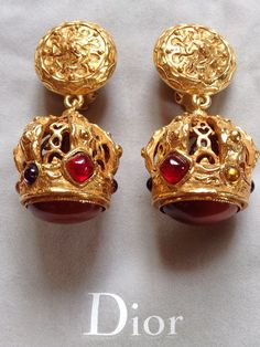 Vintage Christian Dior gold tone clip on earrings by LuxuryNeeds, $350.00