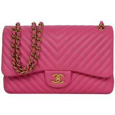 Pre-owned CHANEL '15 Pink Chevron Lambskin Jumbo Classic Double Flap... ($5,700) ❤ liked on Polyvore