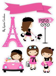 Paris Cool Stickers, Printable Stickers, Scrapbook Stickers, Baby Scrapbook, Disney Princess Crafts, Bolo Paris, Baby Clip Art, Unicorn Cake Topper, Paris Party