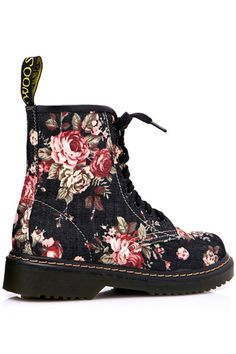 Shop Floral Upper Lace Up Black Martin boots at ROMWE, discover more fashion styles online. Where's My Supersuit, Shoe Boots, Shoe Bag, Martin Boots, Latest Street Fashion, Prom Ideas, Summer Essentials, Custom Shoes, Fashion Watches