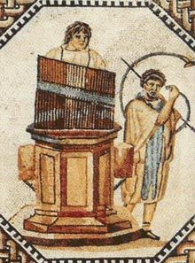 The water organ or hydraulic organ (Greek: ὕδραυλις) (early types are sometimes called hydraulis, hydraulos, hydraulus or hydraula) is a type of pipe organ blown by air, where the power source pushing the air is derived by water from a natural source (e.g. by a waterfall) or by a manual pump. Consequently, the water organ lacks a bellows, blower, or compressor.