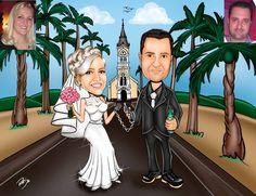 Caricaturas digitais, desenhos animados, ilustração, caricatura realista: Desenho de noivos com cenário !!