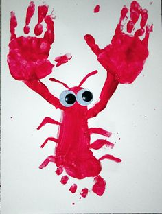 Use non-toxic finger paints and make this Hand and Foot Print Lobster! Great idea from Snails and Puppy Do
