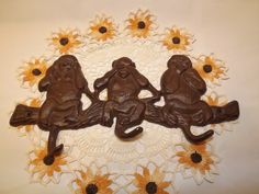 Vintage Cast Iron Monkeys Brown Wall Key by OutrageousVintagious