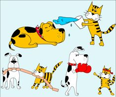 Cute Cartoon Dog and Cat Vector Illustration