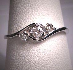 Vintage Diamond Wedding Ring Band 14K White Gold Engagement Anniversary