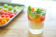 Triple Melon Sorbet Float:  4 Refreshing Summer Drinks:  Triple Melon Sorbet Floats, Cantaloupe Aqua Fresca, Strawberry Limeade, Homemade Raspberry Vanilla Soda. Cantaloupe agua fresca tastes like the most wonderful fresh melon water.