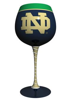 Notre Dame Fighting Irish Artisan Wine Glass - hand painted