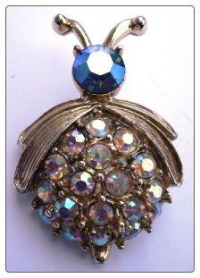Aurora Borealis Rhinestone Lady Bug Pin Brooch