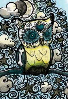 Day of the Dead Original Illustration Owl Print by DanaChangingArt