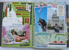 DC Smash Pages using postcards, photos, used stamps and clear stickers. By Lizvette