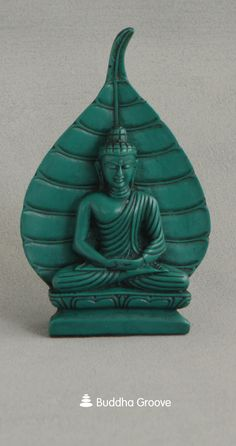 Turquoise Buddha and Bodhi Leaf Statue, 6 Inches