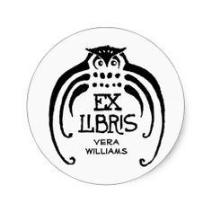 Sylized Owl Bookplate Sticker