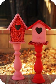 v-day glitter birdhouses (HoH85)
