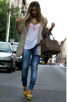 fashionablej.blogspot.com  so simple and cute. love the baggy white tee, slim jeans and yellow wedges