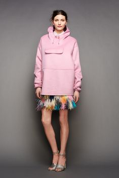 30 Little Style Lessons To Learn From J.Crew #refinery29  http://www.refinery29.com/2015/02/82440/jcrew-fall-ny-fashion-week-2015#slide-7  Pick your ponchos in an unexpected color, like Pepto-pink.