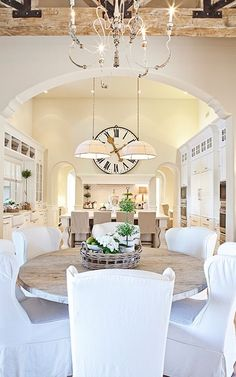 Love the Dining room table! white & cream kitchen