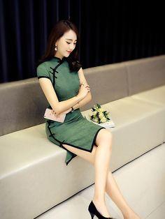 Green Linen Modern Qipao / Cheongsam Dress