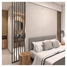 """The interior design is focused on functionality and comfort. Each bedroom has a walk-in bathroom, falling under the """"open plan"""" idea. Unique Headboards, Open Plan, Outdoor Spaces, Architecture Design, Contemporary, Living Room, Interior Design, Bathroom, Furniture"""