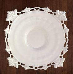 Victorian Milk Glass plate with decorative edge. No chips or cracks, has some light wear commensurate with age. Measures 9 x 9 x high