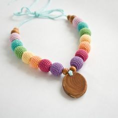Snow Rainbow Nursing Necklace with Oval Pendant - This colorful nursing necklace features a warm pastel rainbow! Mommy Necklace, Nursing Necklace, Teething Necklace, Teething Toys, Oval Pendant, Rainbow Baby, Wooden Beads, Baby Wearing, Everything