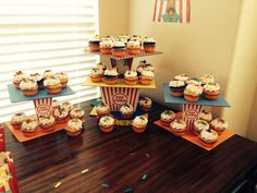 Circus themed cupcake stand.. It's a boy!