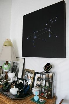 25 Galactic DIYs from  Especially love this Constellation Starry Lights wall art