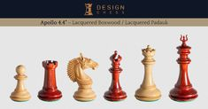 The Apollo Series chess pieces in lacquered boxwood and the beautiful red wood, padauk. These masterfully designed and carved inch chessmen come with two interchangeable king's finials. Hand-made in India. A luxury product of Design Chess.