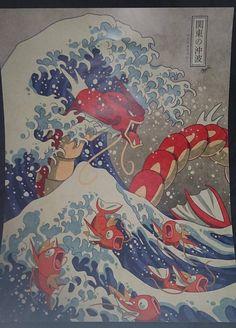 Inspired by Hokusai's Great Wave off Kanagawa and Pokemon! Please do not alter, remove my watermarks, or repost anywhere. The Great Wave Off Kanto - Shiny Version Pokemon Go, Pokemon Mashup, Pokemon Poster, T Shirt Pokemon, Pokemon Crossover, Pokemon Manga, Pokemon Tattoo, Pokemon Fan Art, Wallpaper Animé