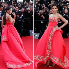 Freida Pinto looked gorgeous as she made her second red carpet appearance at the ongoing Cannes film Festival in a coral Oscar de la Renta gown strapless gown with gold detail. Cannes Film Festival 2014, Freida Pinto, Red Carpet Looks, Celebs, Celebrities, Looking Gorgeous, Strapless Dress Formal, Bollywood, Celebrity Style