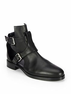 Pierre Hardy - Leather Cutout Motorcycle Boots - Saks.com