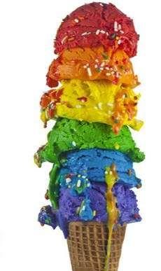Somewhere over the rainbow ice cream cone.