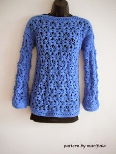 Free crochet patterns and video tutorials: how to crochet pullover, sweater, free pattern tutorial for beginners