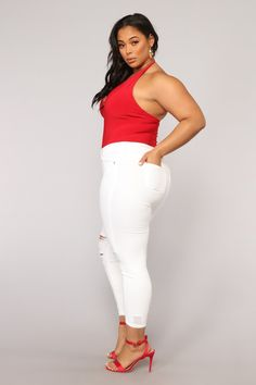 Available In Black, White, Red, and Raspberry Halter Neckline Deep V Thong Bottom Snap Closure Polyester Spandex Final Sale Rompers Women, Jumpsuits For Women, Jackets For Women, Sweaters For Women, Clothes For Women, Curvy Inspiration, Full Figure Fashion, Swimsuits For Curves, Bodysuit Fashion