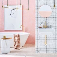 B L U S H ••• || crush || Bathroom perfection thanks to @kerrieann_jones_stylist  The @monmelbourne duo copper mirror looking exceptional  #bathrooms #interiordesign #interiorstyle #mirror #middleofnowhere #mira #style #monmelbourne #blush  #duomirrow #brass  by @brettstevensphoto for real living.