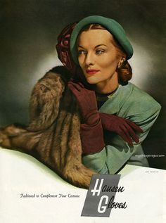 Hausen Gloves ad, 1946. #1940s #vintage #gloves #fall_colors