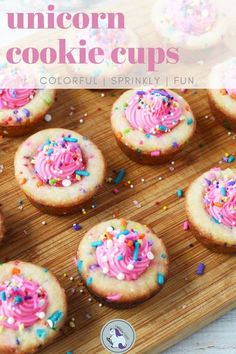 Unicorn cookie cups filled with frosting and sprinkles. These cookie cups can be filled with any  colors or sprinkles to match your occasion. Fun to bake and decorate anytime. Colorful cookies that are sure to bring on the smiles.  #unicorn #unicorncookies #cookiecups #frosting #sprinkles