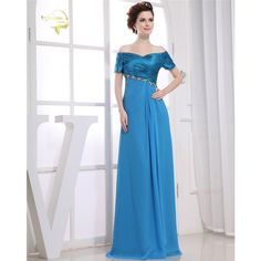 Short Sleeves Evening Dresses Flutter Sleeve Long Women Gown 2017 Chiffon Special Occasion Dresses Prom Gowns Vestido Longo 0129