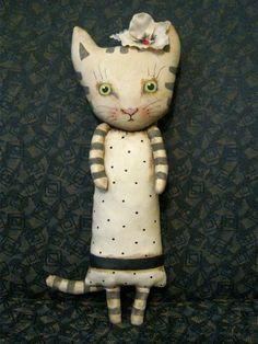 RESERVED for Sophie ,ooak cat art doll, Sandy Mastroni, stripes cat, fabric flower, with pearl, wall art doll , shelf art