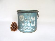 This would look great as decor in a cabin!! Vintage Minnow Bucket Frabill's Blue Waters by rusticwrenantiques, $34.95
