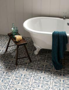 Bath, blue tiles