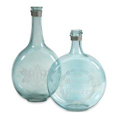 Imax Corporation Kate Glass Bottles in Green - Set of 2