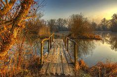 Spring morning by Boris Frkovic, old plank bridge in Croatia